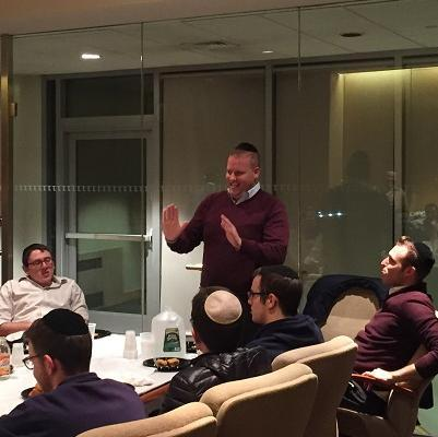 During LCM's Alumni Dinners, alumni from different fields discuss their career with students. Above, Meir Milgraum, of the Lightstone Group, led a fascinating discussion about the ins-and-outs of the real estate profession.