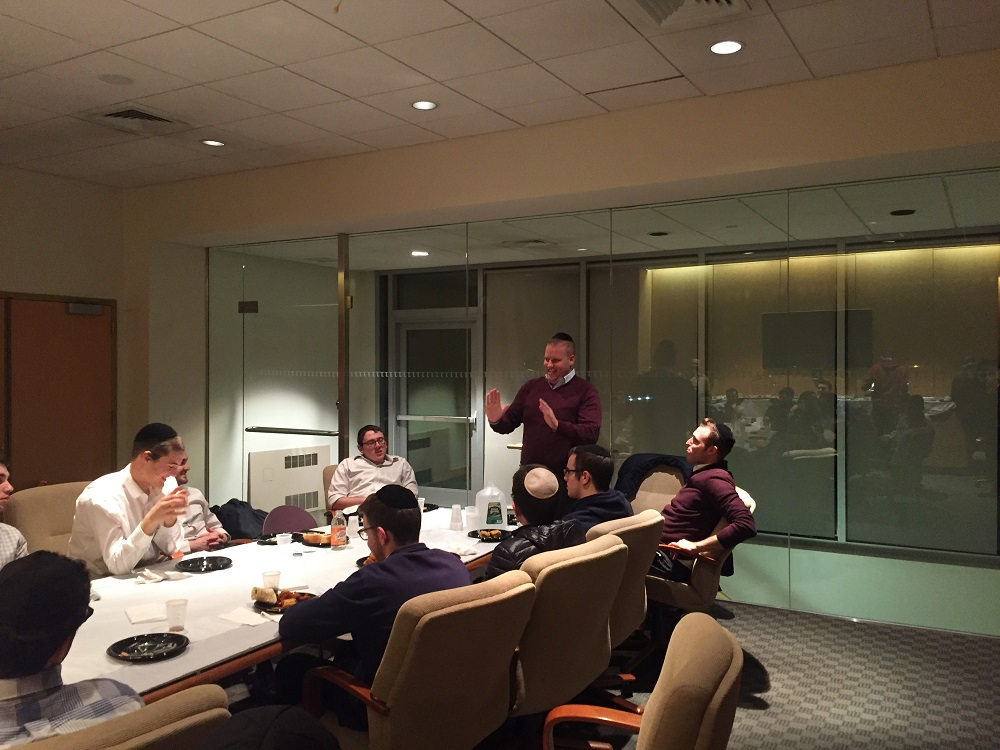 During LCM\'s December Alumni Dinners, alumni from different fields discuss their careers with students. Above, Meir Milgraum, of the Lightstone Group, led a fascinating discussion about the ins-and-outs of the real estate profession.