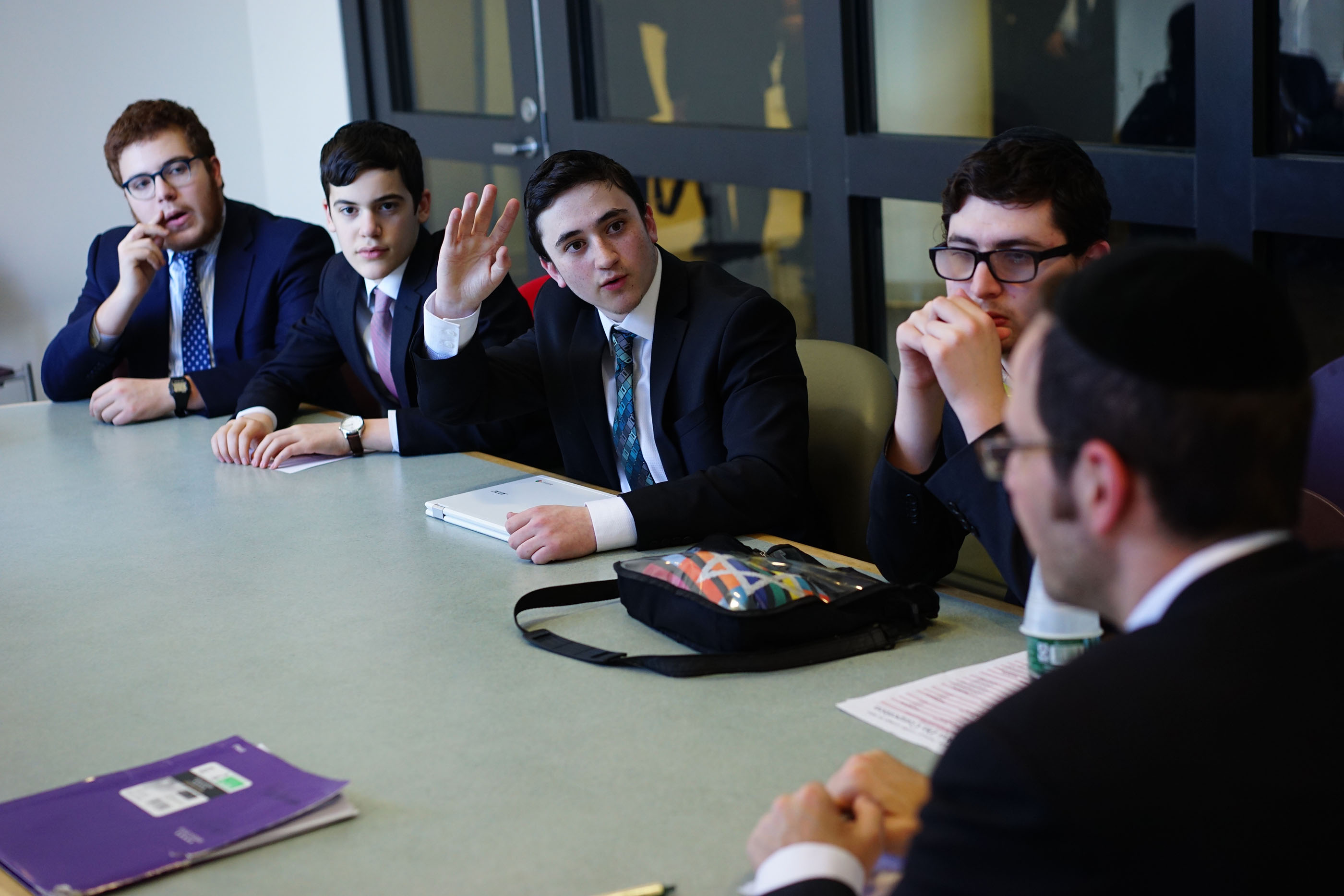 High school participants prepare for competition at the Lander College for Men 2018 Model Beis Din